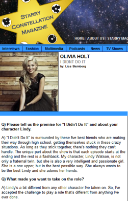 olivia holt interview Starry Mag