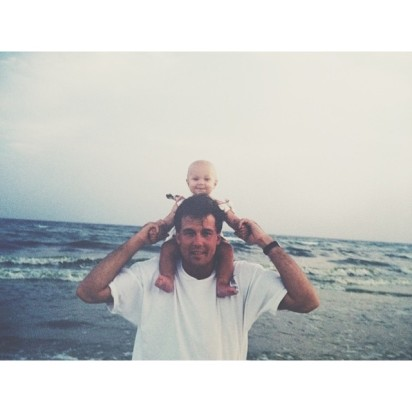 olivia_holt 5 hours ago On the shoulders of my buddy, true rockstar, and hero. My dad. Fathers Day without you isn't the same. See you soon, love you loads.